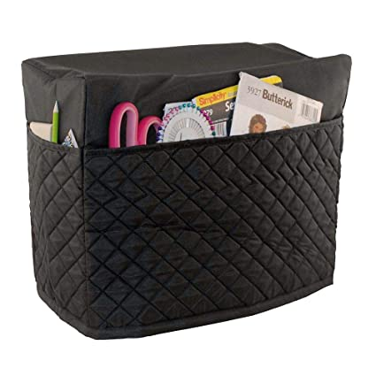 Everything Mary Black Quilted Sewing Machine Cover - Dust Cover Protector That Fits Most Standard Brother