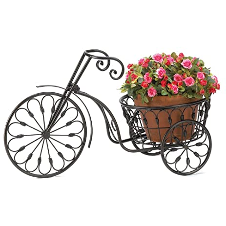 Outdoor Tricycle Plant Stand Garden Patio Ornament Flower Plant Decoration  Bicycle Home Porch Decor