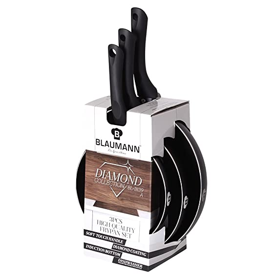 Juego 3 Sartenes piedra Blaumann Diamond Line - bl-3139: Amazon.es: Hogar