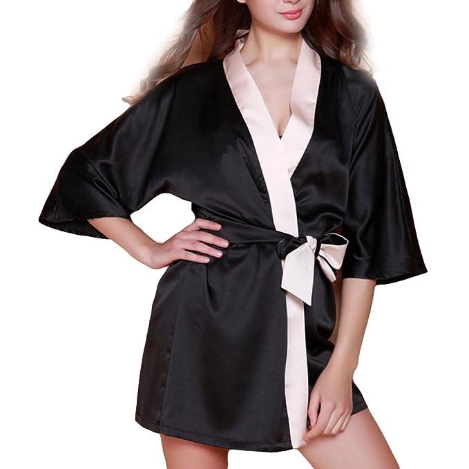 Ropa De Dormir De Las Mujeres Kimono Albornoces Nightdress Mini Waffle Batas Robe Wedding Robe Para El Verano Home Spa Hotel Bathing,Black-L: Amazon.es: ...