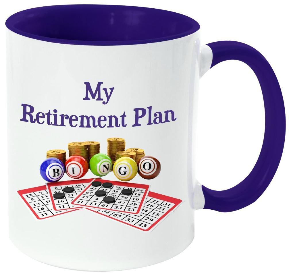 Rikki Knight ''My Retirement Plan is Bingo'' Funny Quotes Handle and Inside Design Ceramic Coffee Mug Cup, Dark Blue, 11 oz by Rikki Knight