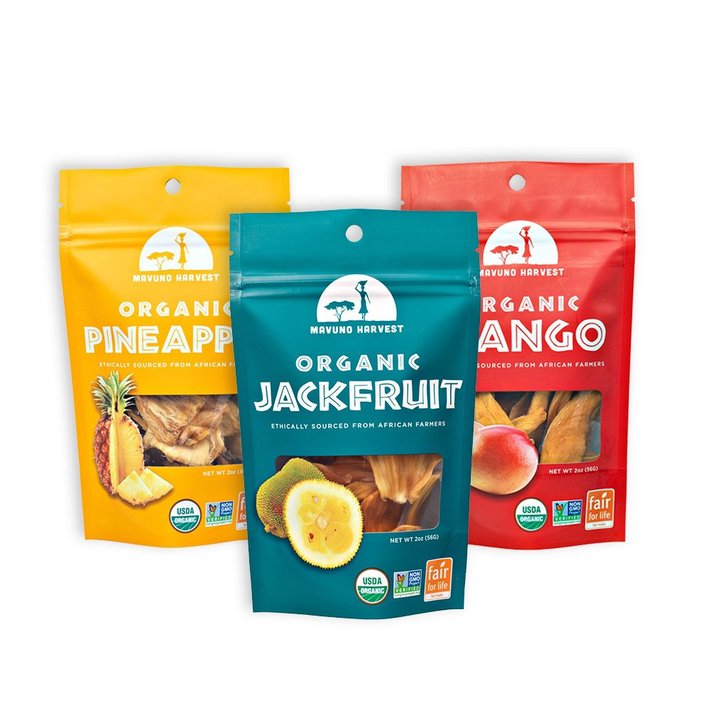 Mavuno Harvest Fair Trade Organic Dried Fruit Variety Pack, Mango, Pineapple, and Jackfruit, 3 Count