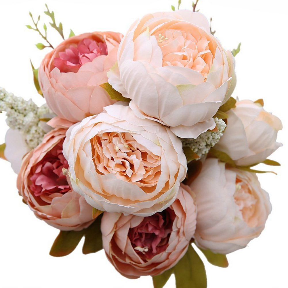 C-Pioneer Artificial Fake Silk Peony Flower Bridal Bouquet Home Wedding Party Decor-Light Pink