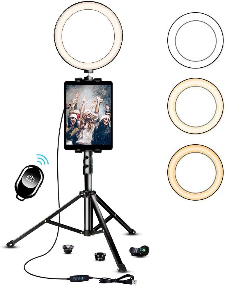 10.2 Inch Ring Light with Stand, SAVEYOUR Selfie LED Ring Light with Tripod & Cell Phone Holder & Pad Holder for Live Stream/Makeup/Photography/Video Compatible with iPad iPhone Android
