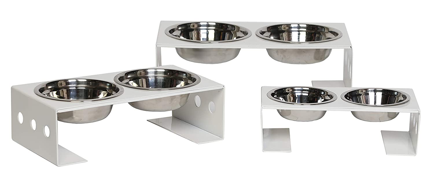 Oslo White Large Oslo White Large Unleashed Life Collection – Dog Cat Food & Water Bowl