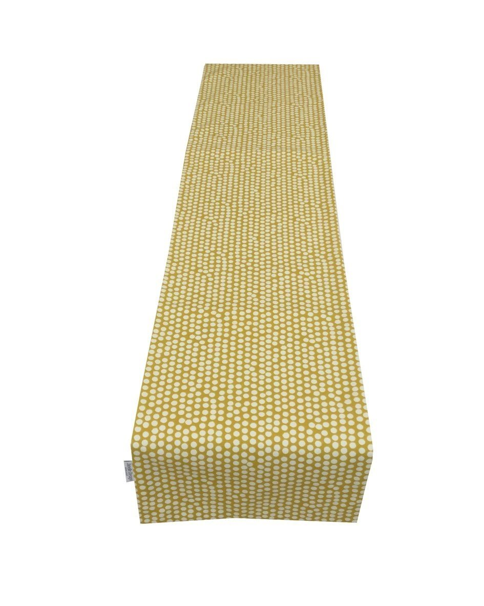 Janelle Design Spotty, Dotty Table runner/bed runner only, in Mustard Yellow ideal home, caravan, b&b, cafe, hotel, restaurant. Also available wholesale (54') restaurant. Also available wholesale (54) Janelle Design LTD