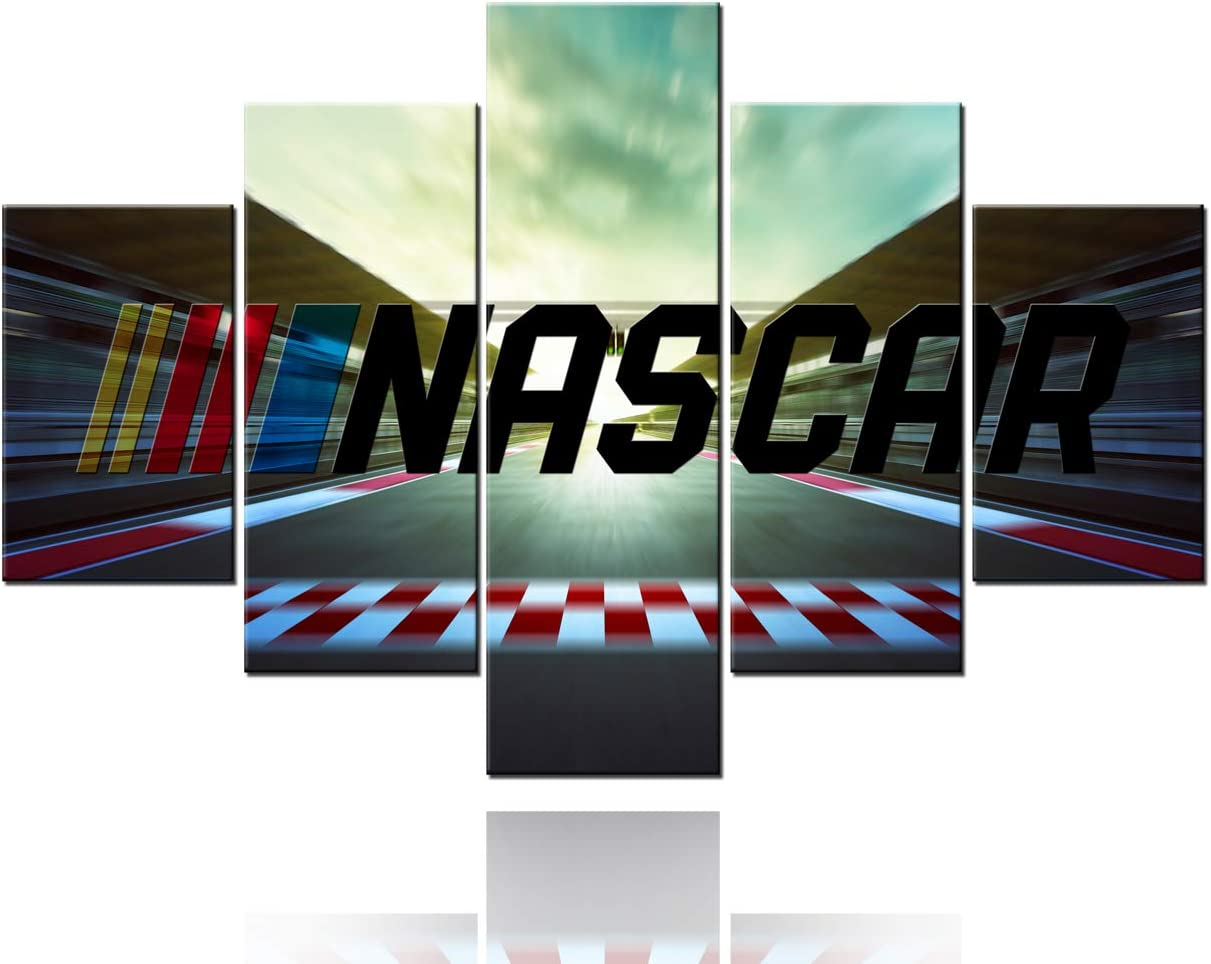 TUMOVO Canvas Print Wall Art Motorsports Painting Abstract NASCAR Racing Car Pictures Car 5 Panel Modern Artwork for Living Room House Decor Posters Stretched Giclee Framed Ready to Hang(60''Wx40''H)
