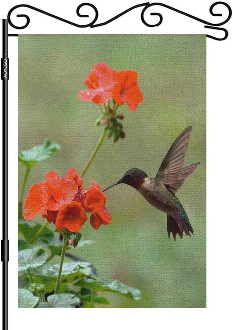 AOYEGO Hummingbird Garden Flag Small Vertical Double Sided 12.5 x 18 Inch Ruby-Throated on a Geranium Flower Red and Green Burlap Yard Outdoor Decor