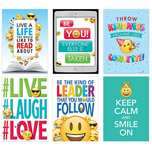 Creative Teaching Press Wall Poster Emoji Fun Inspire U Poster 6-Pack, Ctp 8093 with