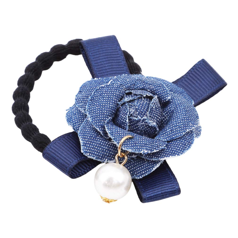 Dolland Elastic Rubber Band Simulated Pearls Denim Flower Hair Band Rope Scrunchie Ponytail Holder,Dark Blue
