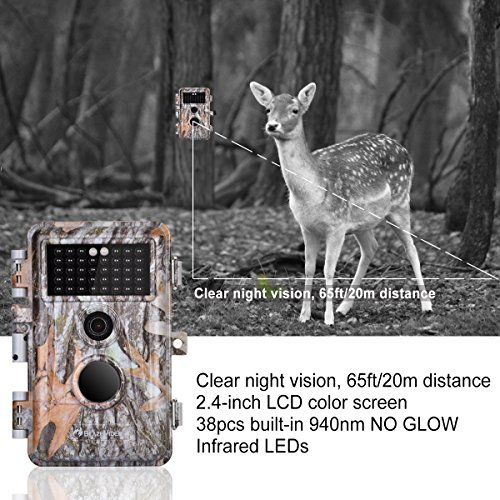 5-Pack 16MP 1920x1080P Video Game Trail Cameras Wildlife Deer Hunting Cams Time Lapse with 65ft Night Vision No Glow & No Flash 940nm Infrared IR Motion Activated IP66 Waterproof 0.6S Trigger 2.4
