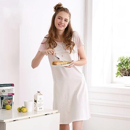 Xing Hua home Camisón de niña de Verano Pijama de Rayas de algodón de Manga Corta versión Coreana de Ropa de hogar de algodón Rosa y Blanco (Size : L): Amazon.es: Hogar