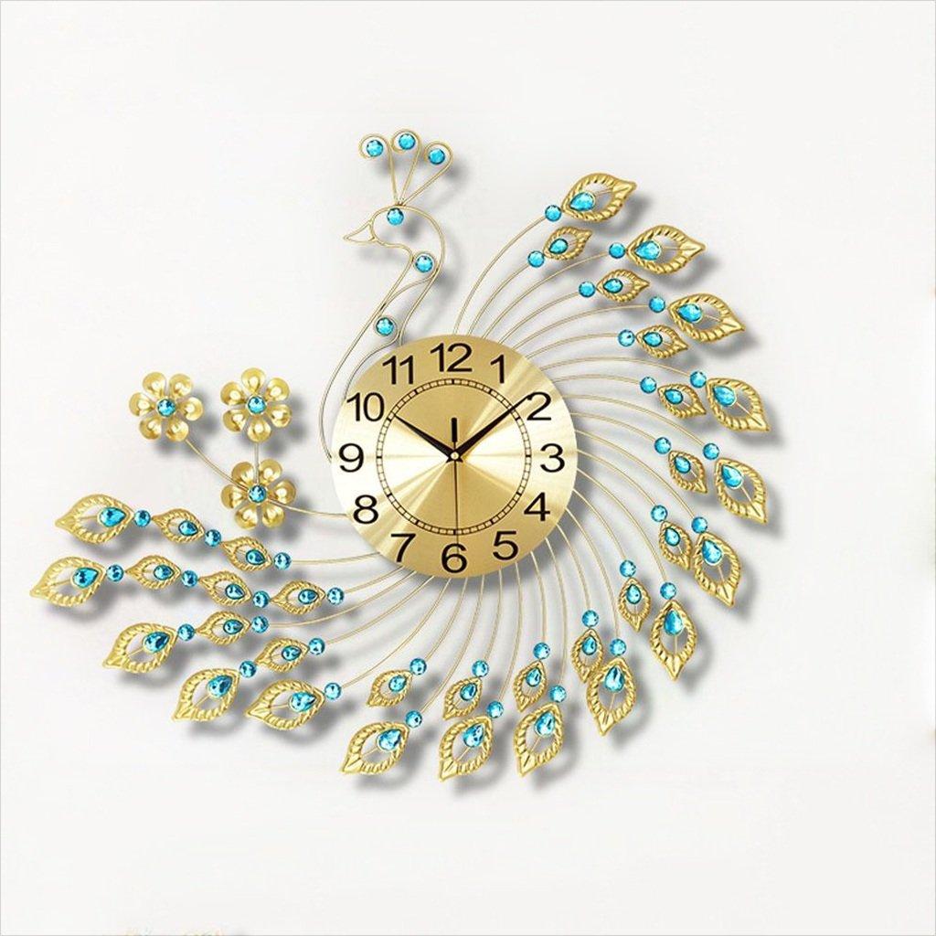 中国スタイルのファッションピーコックウォールクロックリビングルームモダンなクリエイティブなシンプルな壁のチャート高品位人格のアート装飾サイレントクォーツ時計 B07CZ3QJK1