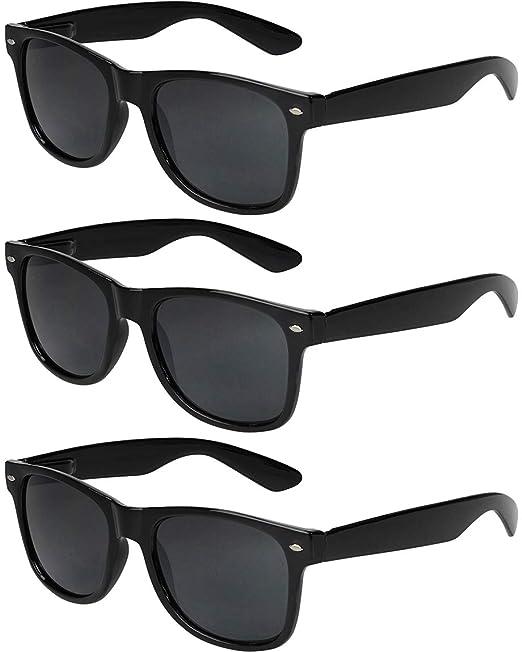 feb9696b75 X-CRUZE® - Pack de 3 gafas de sol nerd retro vintage unisex hombre mujer gafas  nerd - Set B - Negro: Amazon.es: Ropa y accesorios