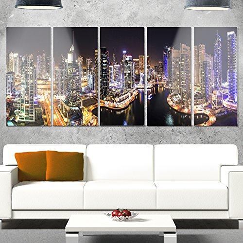 Cityscape Wall Bracket (Designart MT9939-401 Dubai Marina View at Night - Cityscape Glossy Metal Wall Art,60x28)