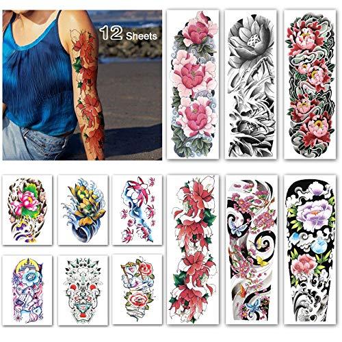 Leoars Full Sleeve Temporary Tattoos Flower - Waterproof Flower Arm Tattoos Temporary and Extra Large Tattoo Sleeves for Women -12 Sheets ()