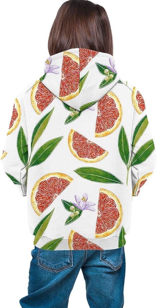Red Grapefruit Botanical Men 3D Print Pullover Hoodie Sweatshirt with Front Pocket