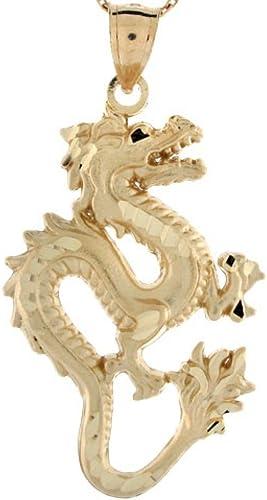 "14K Solid Yellow Gold Beautiful Diamond Cut 0.9/"" Dragon Charm Pendant."