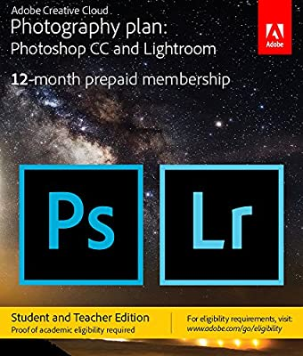 Adobe Creative Cloud Photography plan (Photoshop CC + Lightroom) Student and Teacher Edition [Prepaid Card] - Validation Required