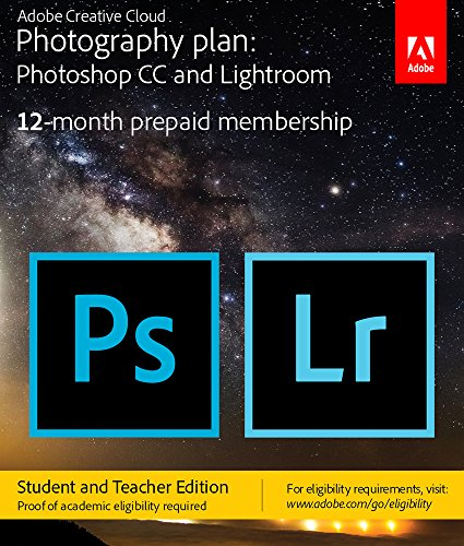 Adobe Creative Cloud Photography plan (Photoshop CC + Lightroom) Student and Teacher [Key Card] - Validation Required by Adobe