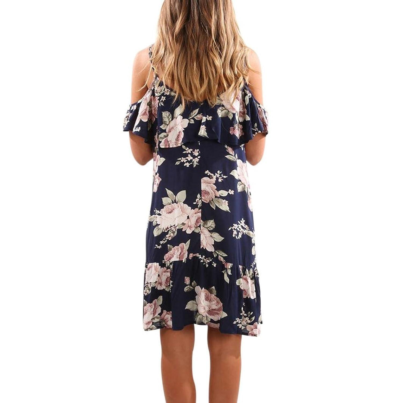 LILICAT Women Dress, Summer Floral Ruffles Dress Off Shoulder Strappy Mini  Dress Beach Party Tunic Tops Dresses Plus Size Knee-Length Casual Sun Dress:  ...