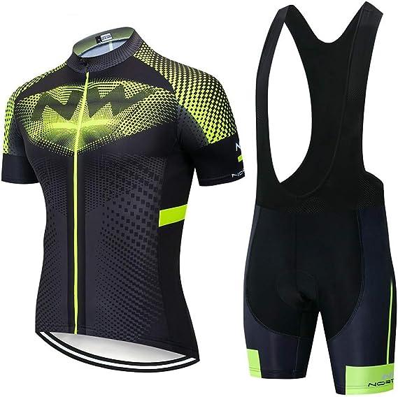 Maillot Cuissard Cycliste Homme pour Cyclisme Velo VTT 9D Rembourrage Tenue Ensemble Equipe Pro Homme /Ét/é Respirant Confort