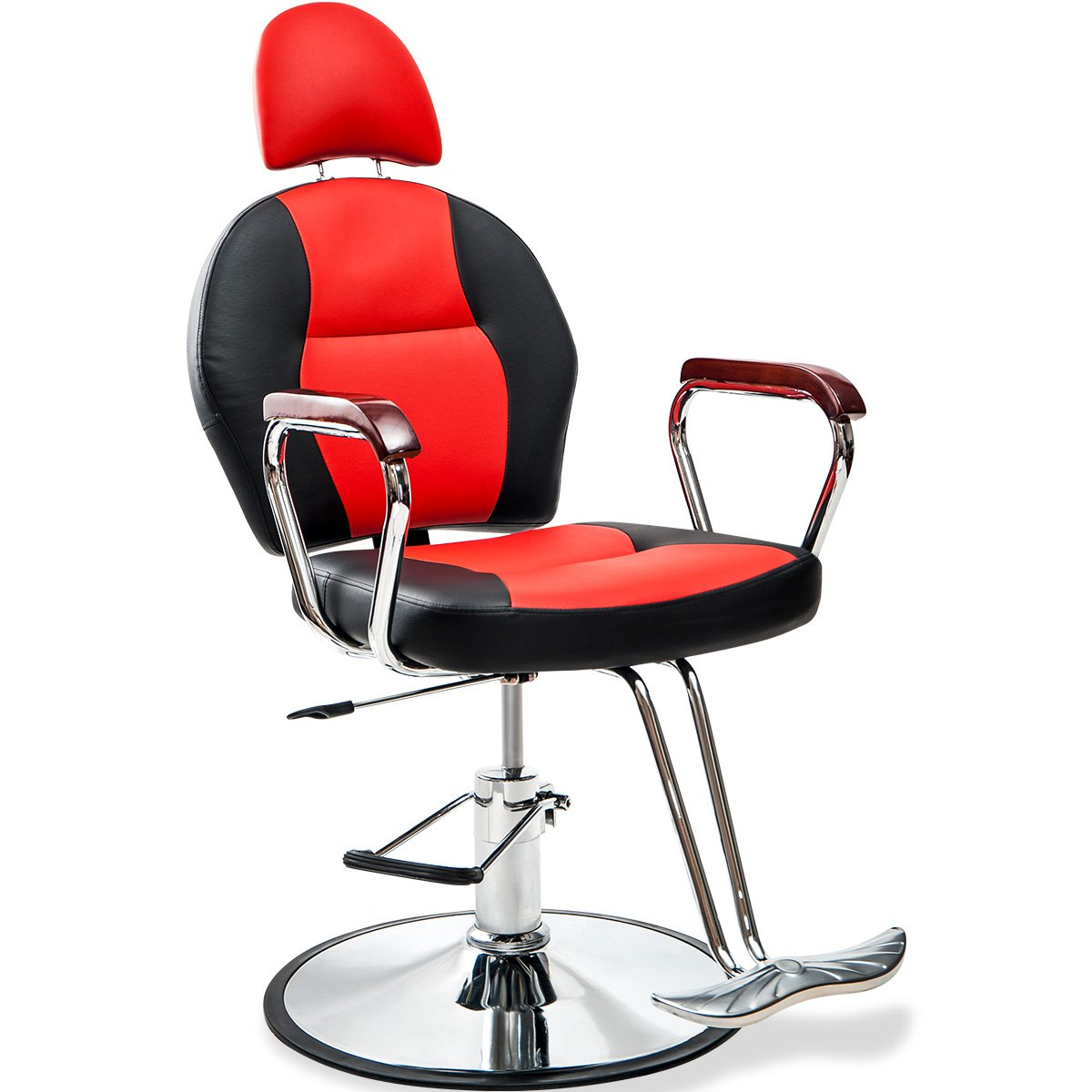 Merax Reclining Hydraulic Barber Chair Styling Salon Beauty Shampoo Spa Equipment (Black&Red)