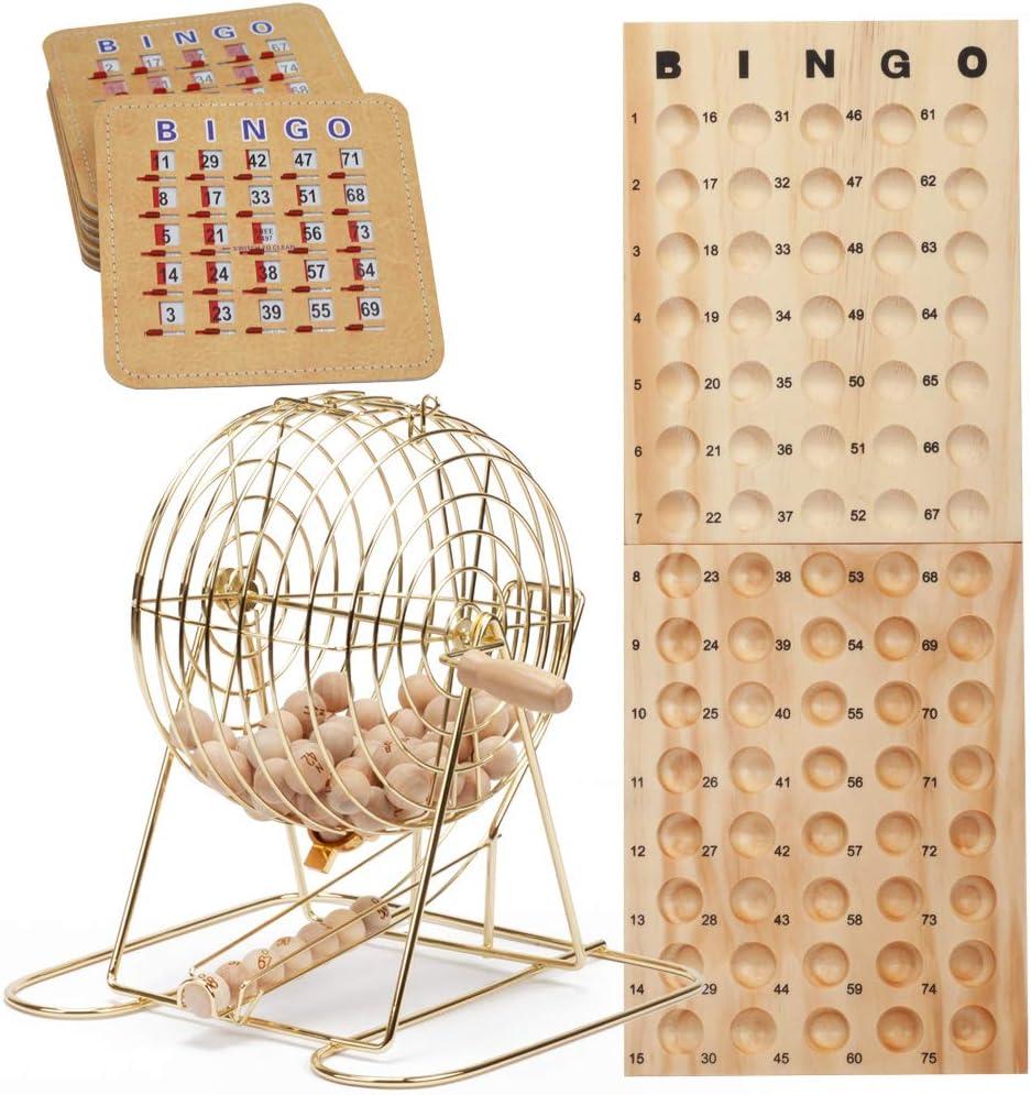 GSE Games & Sports Expert Deluxe Bingo Cage Game Set with Master Board, Bingo Balls,Bingo Cards (Brass/Black)
