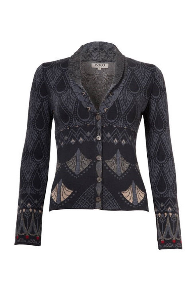 IVKO Painted Relief Motifs Jacquard Jacket, Anthracite (US 14 - EUR 44)