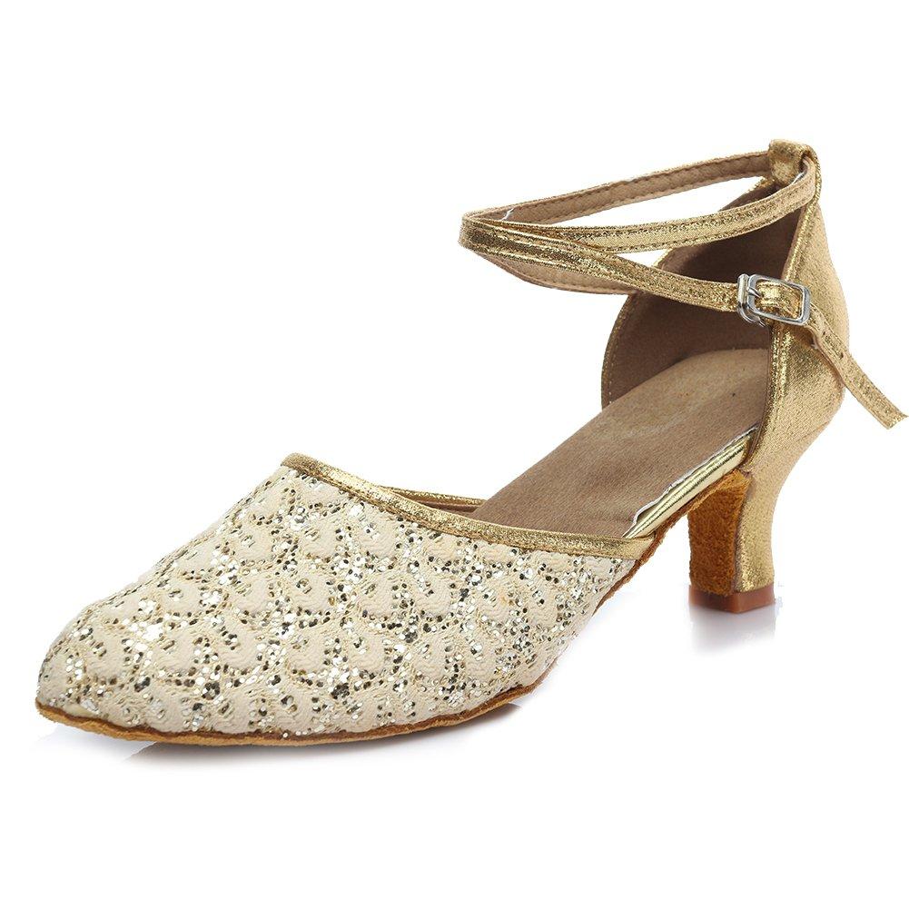 SWDZM Chaussures de Danse Femme Standard Latin Jazz Ballet Chaussures Satin Model-FR-1802-5