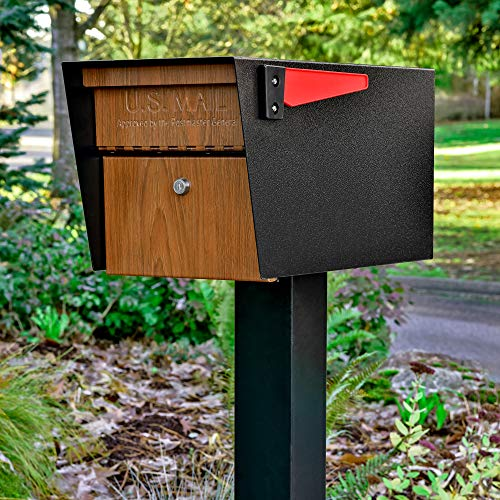 Mail Boss Curbside 7510 Mail Manager Locking Security Mailbox, Wood Grain, Black Powder Coat