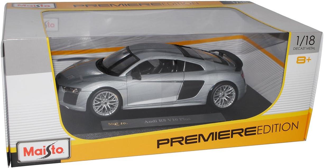 Maisto A-U-D-I R8 V10 Plus Coupe Silber neuestes Modell 2 Generation ab 2015 1//18 Modell Auto mit individiuellem Wunschkennzeichen