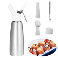 Newthinking Cream Whipper Dispenser-Whipped Cream Dispenser,Professional Aluminum Dispensers for Whipping Cream - 0.5 L Small Cream.Whipped Cream & Mousse Siphon with 3, Cleaning Brush+Dustproof cover & Aeroelastic Sleeve(silvery)
