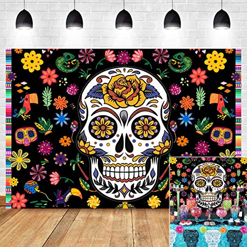 Sugar Skull Photography Backdrop for Day of The Dead Photo Booth Studio Props Party Supplies Vinyl 7x5ft Dia DE Los Muertos Floral Black Background Birthday Bridal Shower Mexican Fiesta Banner Decor