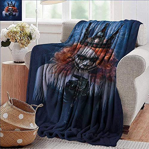 PearlRolan Soft Cozy Throw Blanket,Queen,Queen of Death Scary Body Art Halloween Evil Face Bizarre Make Up Zombie,Navy Blue Orange Black,for Bed & Couch Sofa Easy Care 30