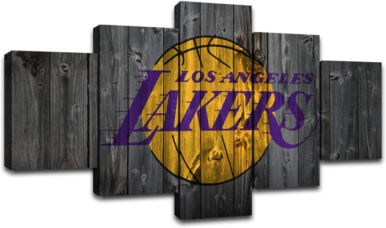 MIAUEN Los Angeles Lakers Wall Art Posters Pictures Home Decor Canvas Prints 5 Piece NBA Basketball Sports Decoration Paintings Ready to Hang(60''Wx32''H)