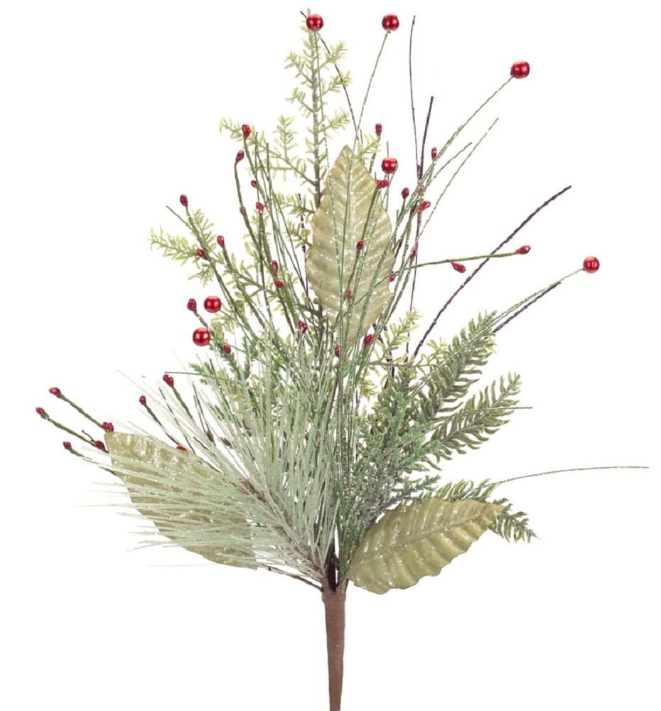 Pack of 6 Green Artificial Iced Foliage Pine Decorative Sprays with Red Berries 22''