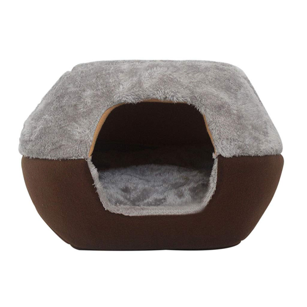 Brown LargeB&F Dog House, Four Seasons Dualuse Cat Litter Kennel Foldable Retractable Breathable Pet Cushion Pet Nest (color   Brown, Size   L)