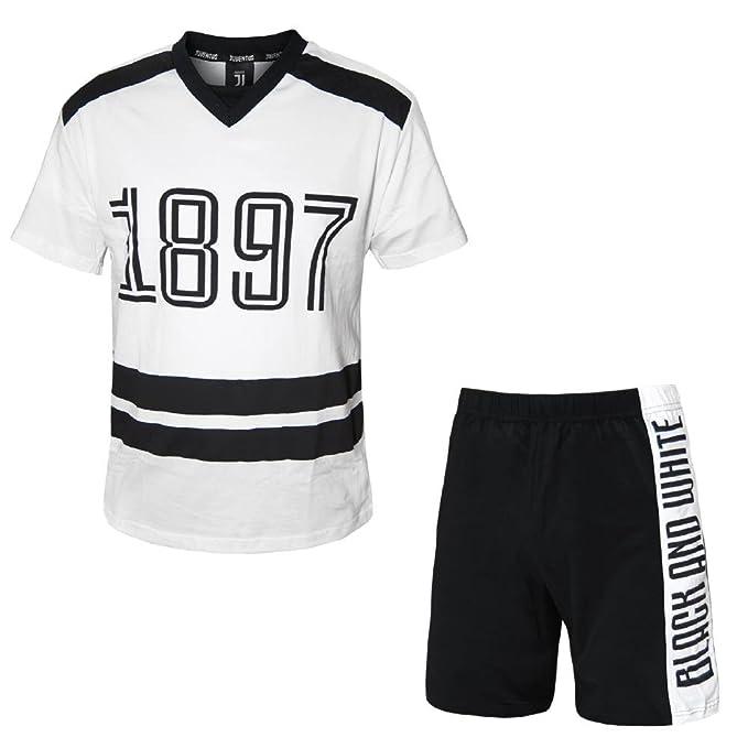 PLANETEX Juventus Pijamas Hombres Ropa oficial Juventus Soccer JJ PS 26852 (Small, Blanco)