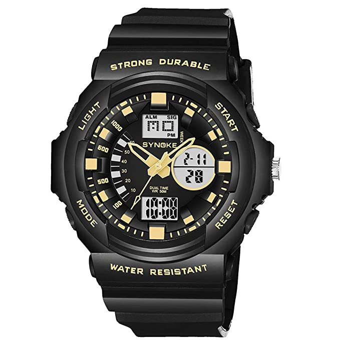 Amazon.com: Double Digital Watches for Men DYTA LED Sport Wrist Watches 5ATM Water Resistant Outdoor Watch on Military Quartz Watchs with Rubber Silicone ...