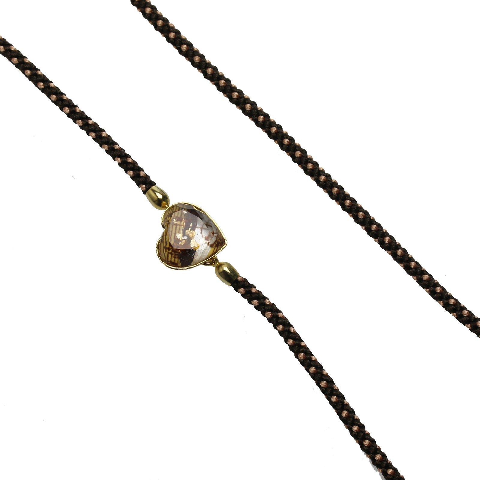 Tamarusan Glass Code Glasses Chain Braid Silk Heart Note Eyeglasses Strap