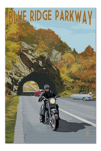Blue Ridge Parkway, Virginia - Motorcycle Scene (20x30 Premium 1000 Piece Jigsaw Puzzle, Made in USA!)