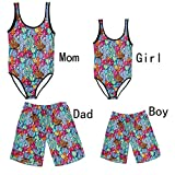 BAOSHI1 Father and Son Matching Swim Trunks, Mommy and Me Monokini Swimsuits Cactus Famiy Matching Bathing Suits (3-4 Years, Boy(Trunks))
