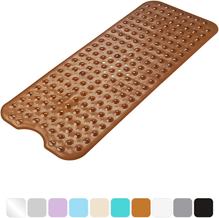 Eco-Friendly TPE Material Non-Slip Shower Mats for Bathroom White Larger Suction Cups Bath Mats with Strong Grip Soft and Odorless Machine Washable 39 x 16 Inches AmazerBath Bath Tub Mat