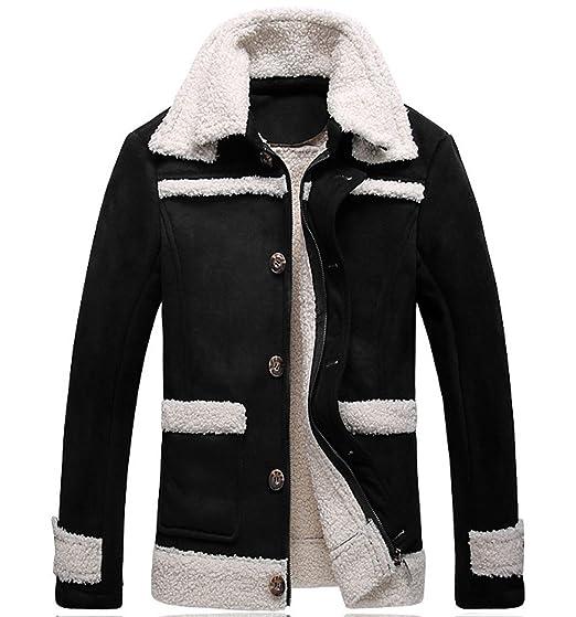 bd98a6daffdc6f RUIYUNS Mens Teenagers Winter Warm Faux Fur Coat Long Jacket Outerwear  Luxury Overcoat Suede Outwear Parka: Amazon.co.uk: Clothing