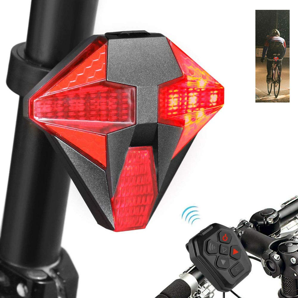 JUNEO Safety Bike Tail Light Turn Signal USB Rechargeable Bicycle Tail Lights Remote Control 4 Modes Flashing Alarm Sound Road Bike Mountain Bicycles Waterproof Flashing