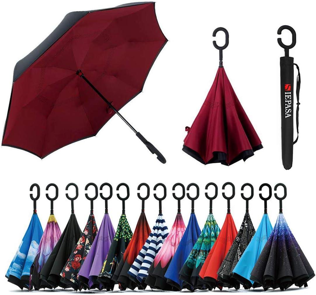 TRADE/® Inverted Umbrella Double Layer Night Starry Pattern Self-Standing Handsfree Anti-Wind Anti-UV Reverse Folding Umbrellas with Anti-Slip C-Shape Handle for Car Use