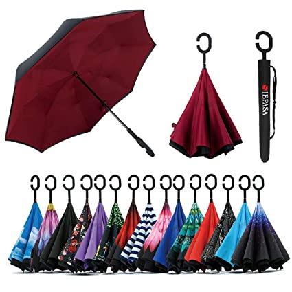 595cc84c8a79 Spar. Saa Double Layer Inverted Umbrella with C-Shaped Handle, Anti-UV  Waterproof Windproof Straight Umbrella for Car Rain Outdoor Use (New Wine  Red)