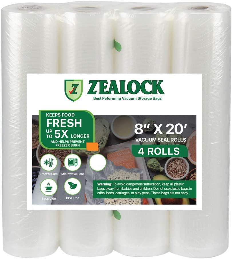 ZEALOCK Vacuum Sealer Bags Rolls Sous Vide Vacuum food bags (food saver heat seal vac bags)