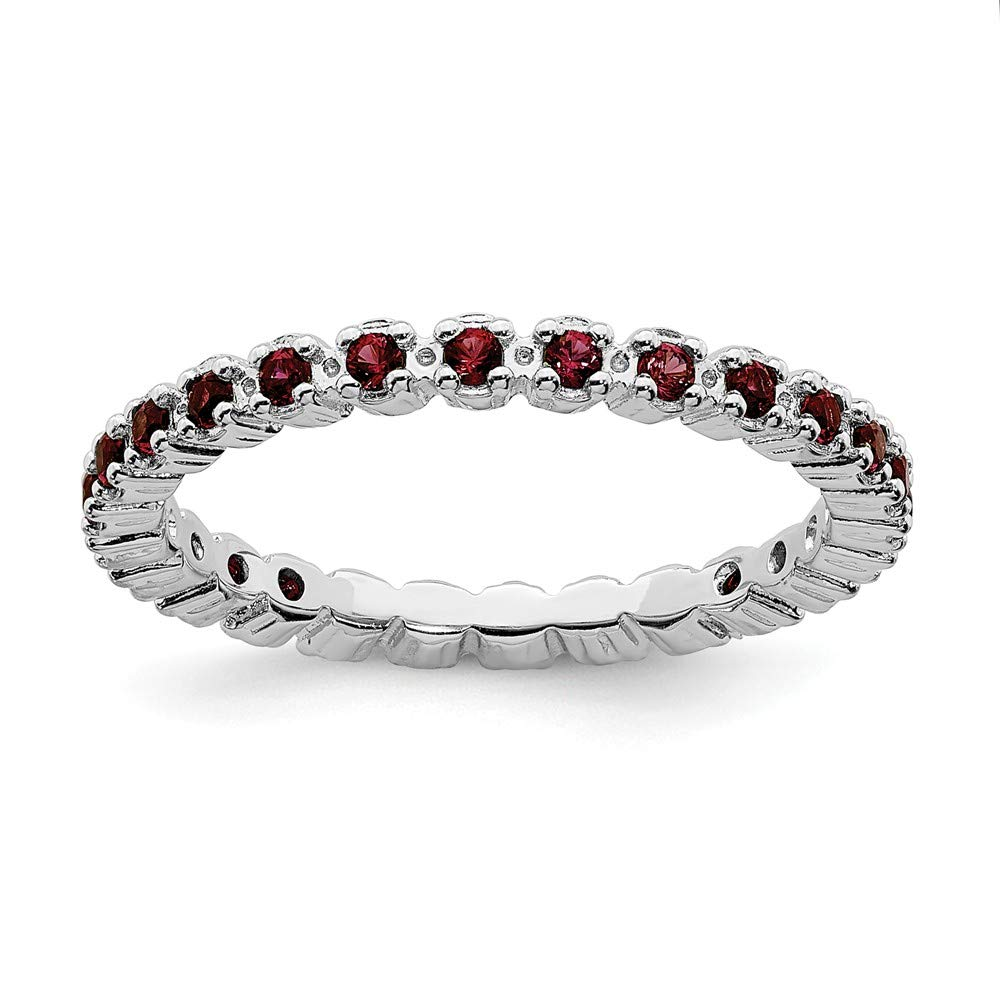 925 Sterling Silver Red Garnet Band Ring Size 9.00 Stone Stackable Gemstone Birthstone January Fine Jewelry Gifts For Women For Her